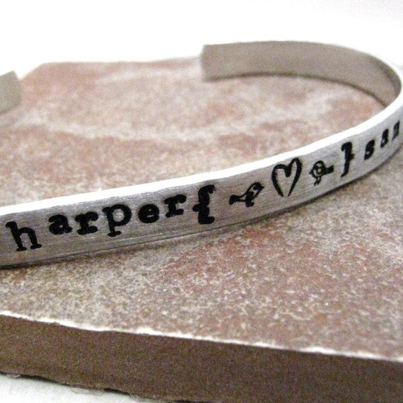 Personalized Bracelet, Love Birds Bracelet, aluminum cuff, Valentine's Day gift, couples bracelet, Anniversary gift for her, Valentine gift