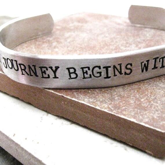 Every Journey Begins With A Single Step Bracelet, Journey Bracelet, 3/8 inch wide aluminu cuff, Motivational Bracelet, Inspiration jewelry