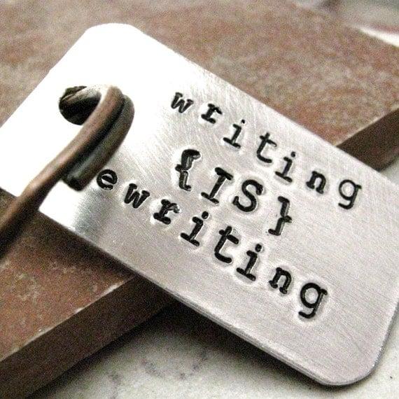 Writing Keychain, Writing is Rewriting Keychain, Author gift, Novelist gift, Blogger gift, Journalist gift, optional personalized disc