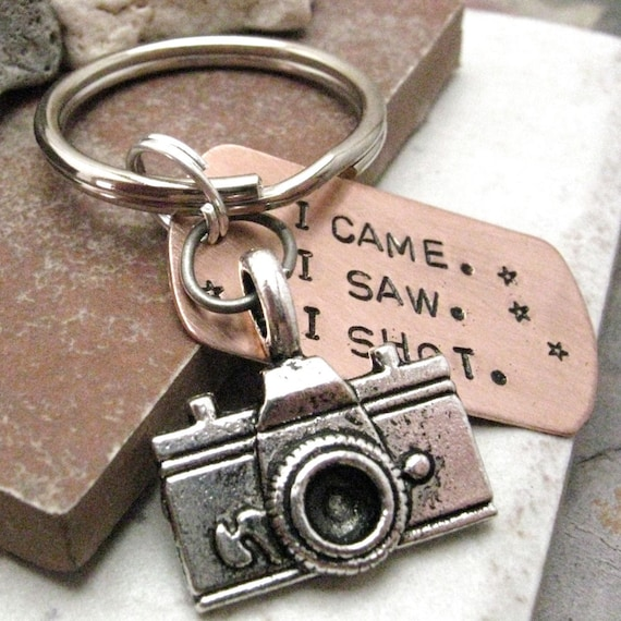 Photographer Keychain, camera charm, I Came.  I Saw.  I Shot, photography keychain, wedding photographer gift, optional initial disc