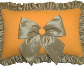 Yellow Decorative Pillow with Green Bow and Yellow Button