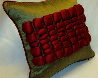 Silk Decorative Pillow Cover with 3D effect insert in the middle, 16 x 16 inches