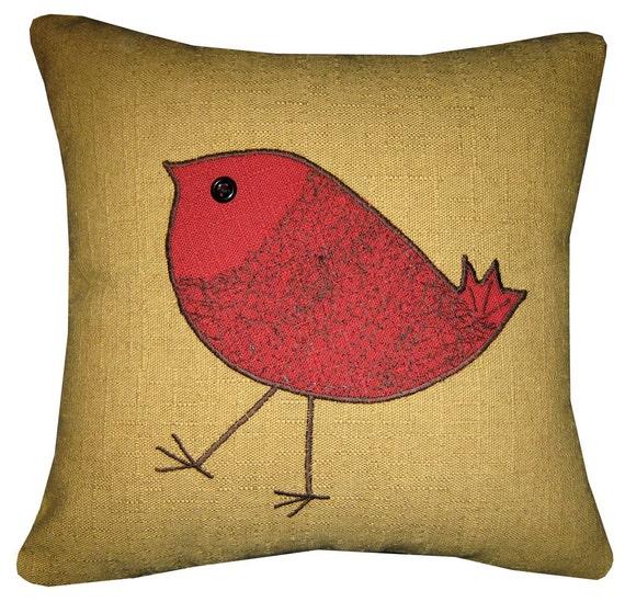 Red Bird Throw Pillow : Decorative pillow/cushion with red bird design number three