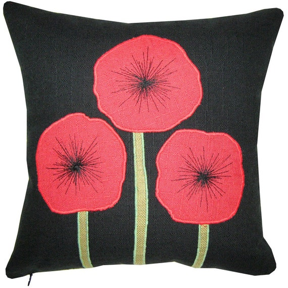 Red Poppy Decorative Pillow : Decorative Pillow/Cushion with Red Poppy Flowers Design