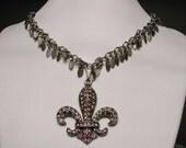 Pewter Swarovski Fleur De Lis Charm Necklace - ARISTOCRACY