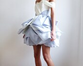 Audrey--Ivory and Blue/Gray Satin Faced Silk Organza Wedding/Reception/Special Occasion Dress