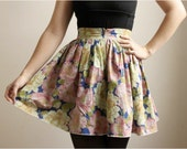 Dar--Floral Print Cotton Skirt with Gold Zipper--Super Sale