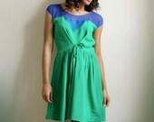Sylvana- green silk and royal blue silk chiffon dress -sample sale