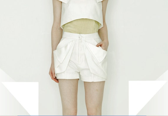 Fabian--Organic Cotton Canvas Shorts with Architectural Detailing--SALE
