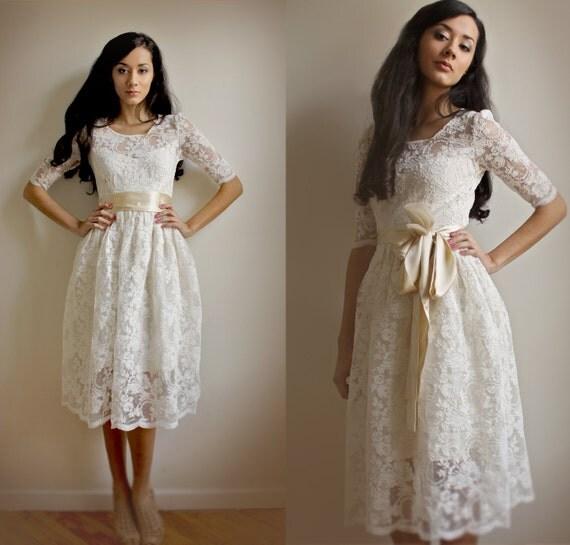 Ellie--2 Piece, Lace and Cotton wedding dress - esty exclusive