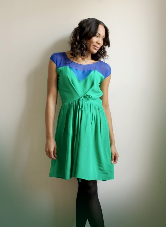 Sylvana- green silk and royal blue silk chiffon dress -sample sale