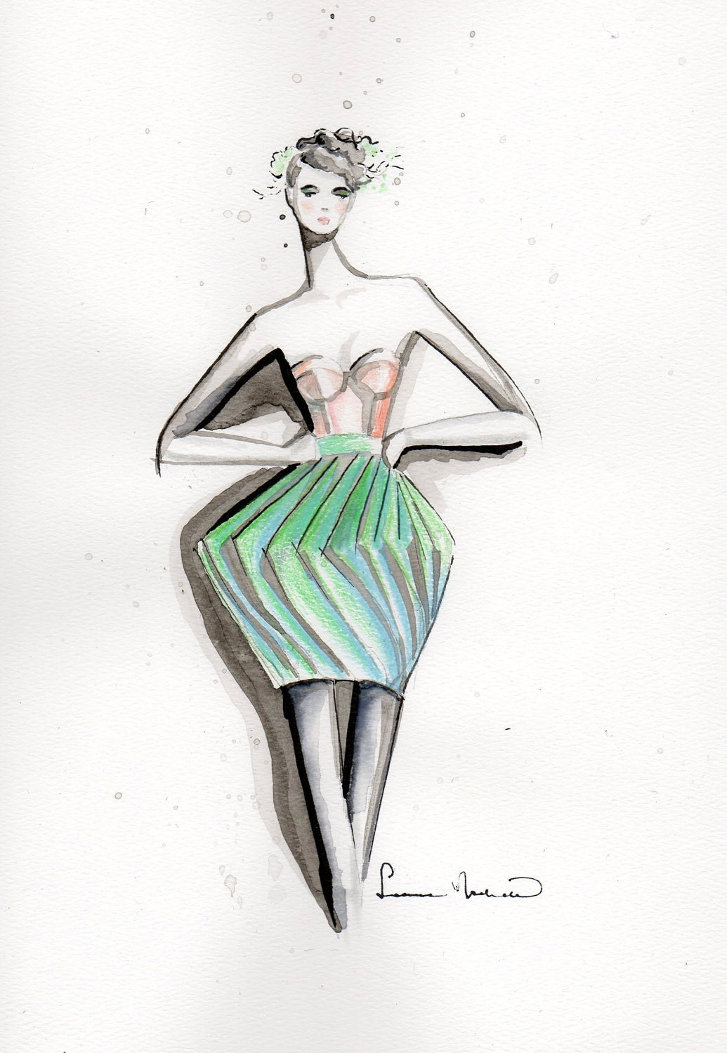 fashion illustration by leanimal on etsy