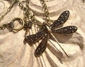 """Chain Necklace with Antique Brass Dragonfly Pendant, 18"""""""
