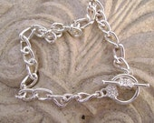 Chain Bracelet Silver ptd Steel, Toggle Clasp with flower, any size.