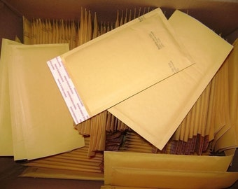Bulk 500 Qty 4in x 8in Kraft Bubble Mailer Size 000 Padded Bubble Mailing Envelopes, ship to 48 USA states only.