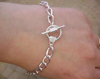 BULK Bracelet Base for Charm Bracelets, Chain, Silver ptd Steel, Toggle Clasp with flower, 8-inch, 5 Qty