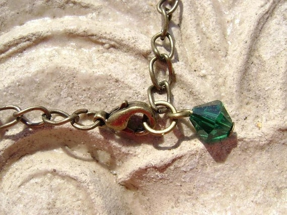 Antique Brass Chain Necklace For Your Pendant with Deep Green Swarovski Crystal Charm and Lobster Claw Clasp, 18in  CUSTOM ORDERS AVAILABLE.