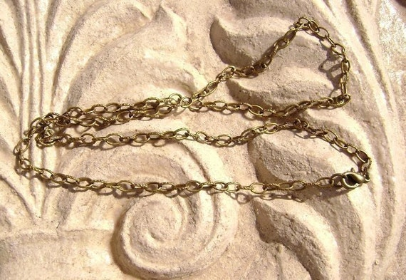 5  Antique Brass Stapmed Rolo Chain Necklaces For Your Pendants 16 to 22in CUSTOM ORDERS AVAILABLE.