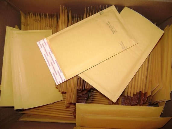 10 Qty - 4in x 8in Kraft Bubble Mailer Size 000 SELF SEALING Padded Bubble Mailing Envelopes 100prRECYCLED PAPER.