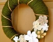 """Small Yarn Wreath Door Decor with Felt Flowers 10"""""""