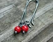 Apple Coral Berries red coral earrings