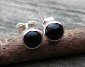 Black Onyx Stud earrings black onyx post earrings sterling silver petite 5mm post earrings
