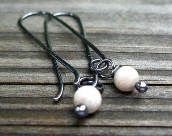 River stone sterling silver long dangle earrings