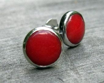 Red coral sterling silver stud earrings