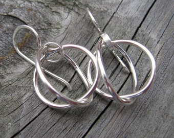 Sterling silver Circle earrings circle dangle earrings