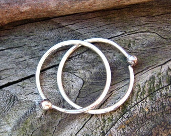 Baby Buds - sterling silver budded open hoops