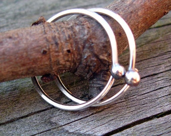 Budded sterling silver open hoops
