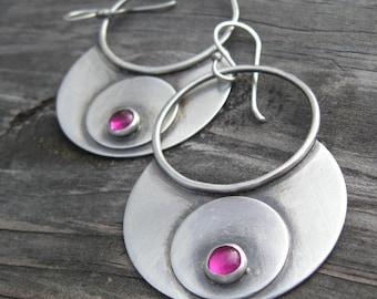 Large ruby sterling silver gypsy hoop dangle earrings