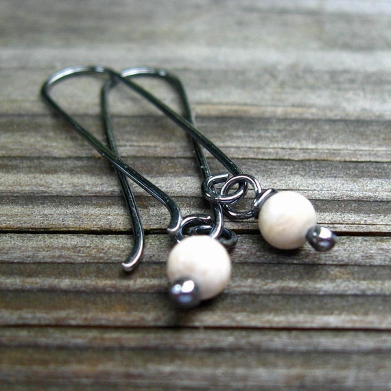 River Stone Berries - oxidized river stone earrings