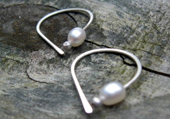 Tiny Pearl Open Hoop sterling silver earrings pearl earrings