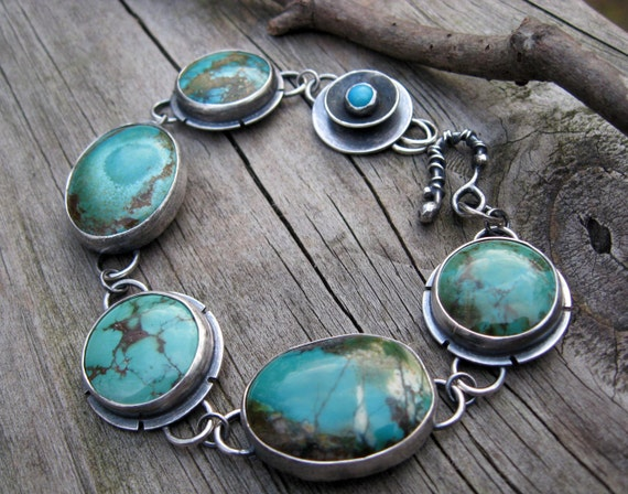 Chunky Turquoise sterling silver bracelet