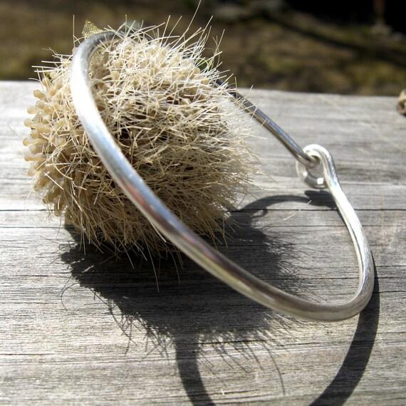 Brushed sterling silver bangle bracelet