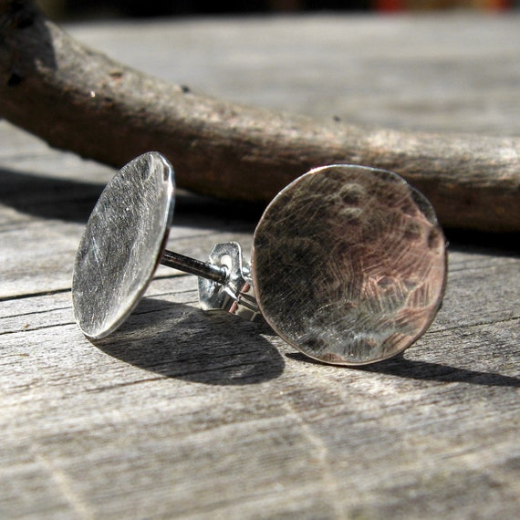 Sterling silver textured disc post earrings
