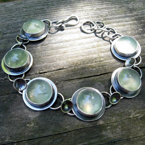 20 PERCENT off EVERY Item Today - Coupon Code MEMDAYSALE - Prehnite Disc Bracelet ... oxidized sterling silver prehnite bracelet