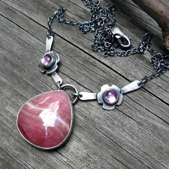 40% OFF - originally 138.50 - Rhodochrosite Pink Sapphire Necklace