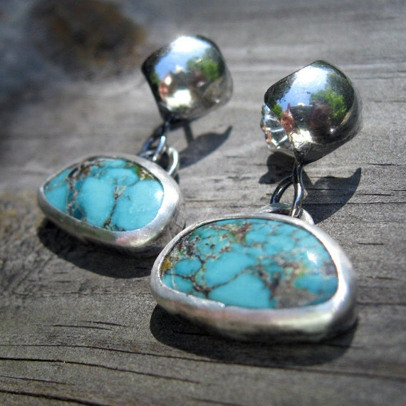 45 PERCENT OFF Diamond Turquoise Ear Bobs