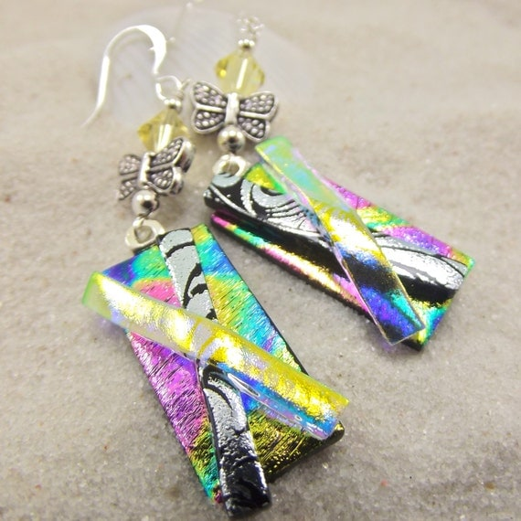 Butterfly Wings Dichroic Earrings