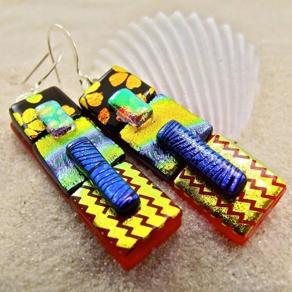 Crackling Fire Dichroic Earrings