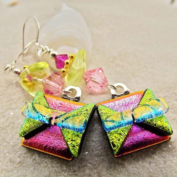 Raspberry Tart Dichroic Earrings