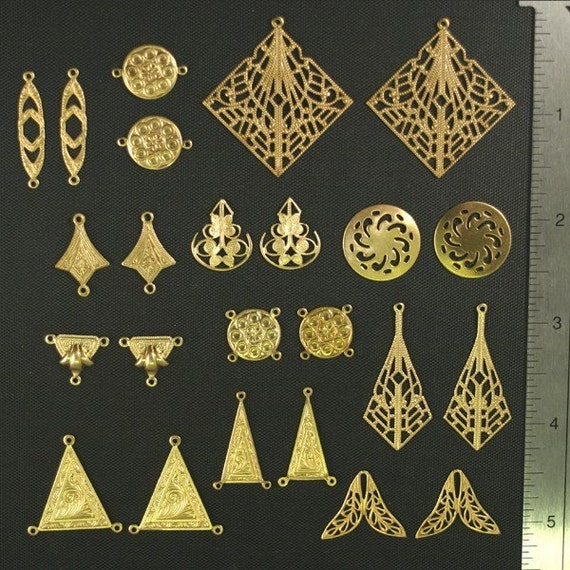 24pc Vintage Style Raw Brass Findings Sampler Lot I (SL-24-I)