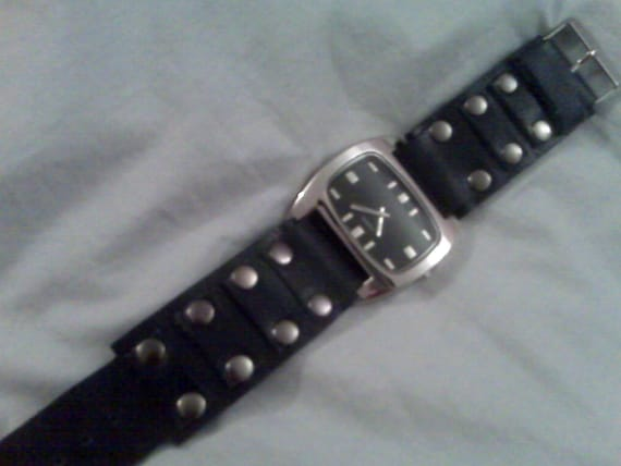 Blue Leather Riveted Square Face Watch