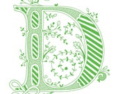 Hand drawn monogrammed print, 8x10, the Letter D, in the color green