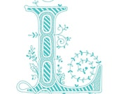 Hand drawn monogrammed print, 8x10, the Letter L, in the color blue