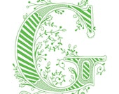 Hand drawn monogrammed print, 8x10, the Letter G, in the color green
