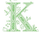 Hand drawn monogrammed print, 8x10, the Letter K, in the color green