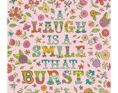 A Laugh is a Smile that Bursts 8x8 digital print of original illustration